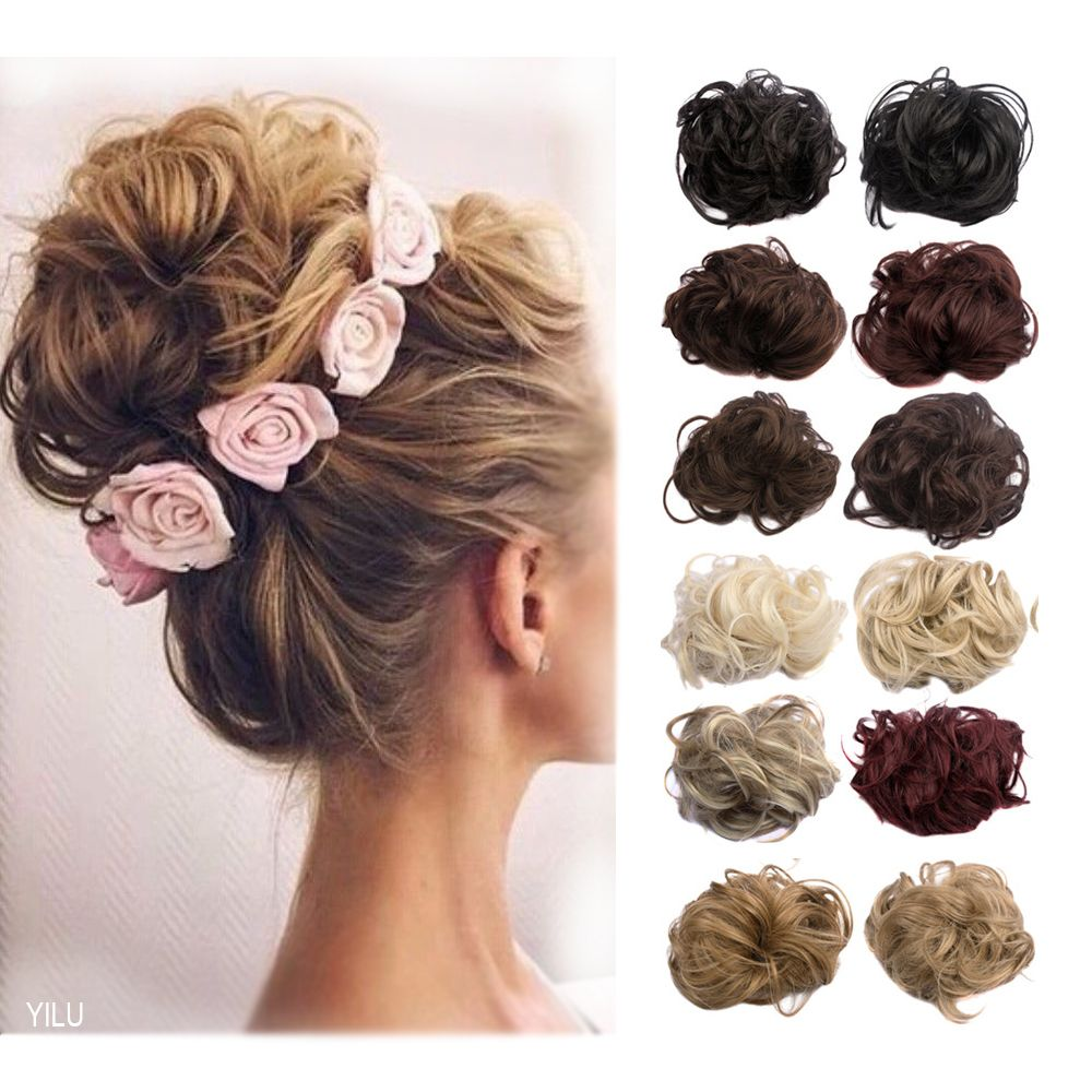 1pc 35g Synthetic Hair Bun Curl Plaited Elastic Wrap Scrinchie For Women Natural Fake