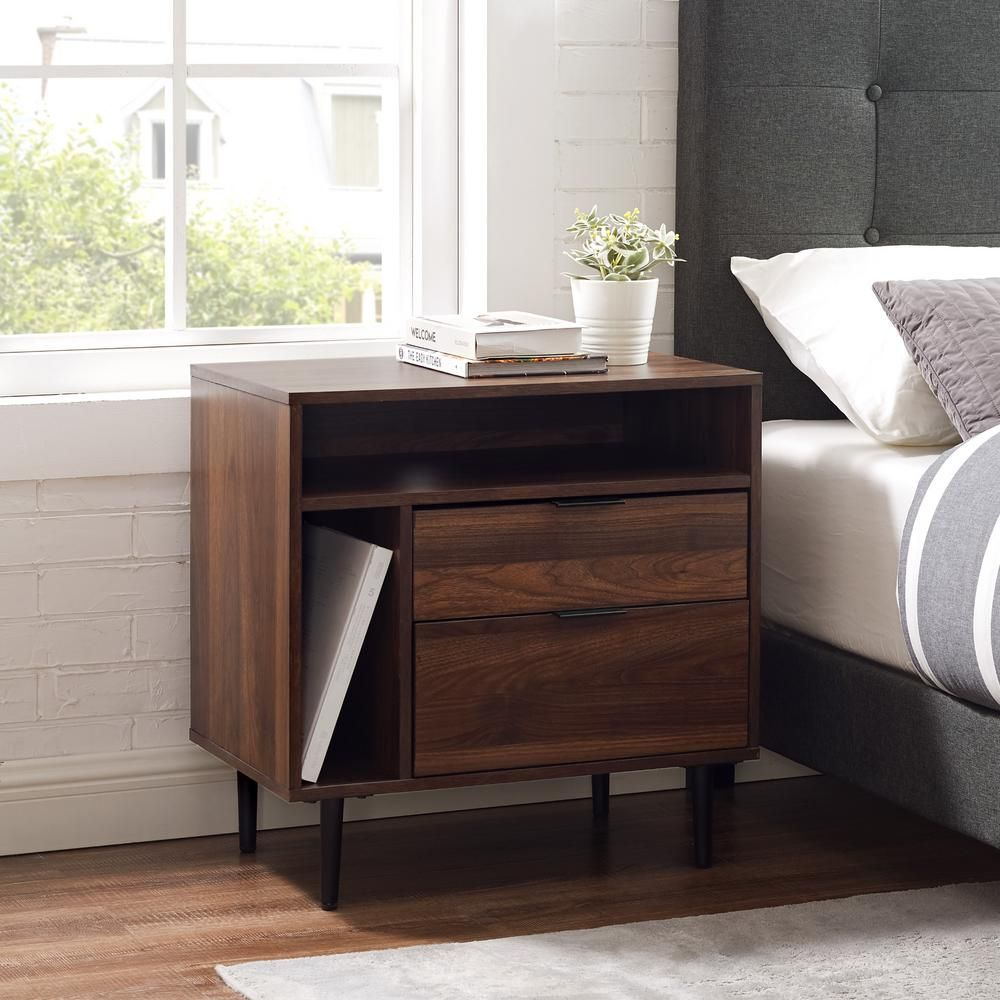 Best Modern 2 Drawer And Shelf Slate Grey Nightstand Bedroom 400 x 300