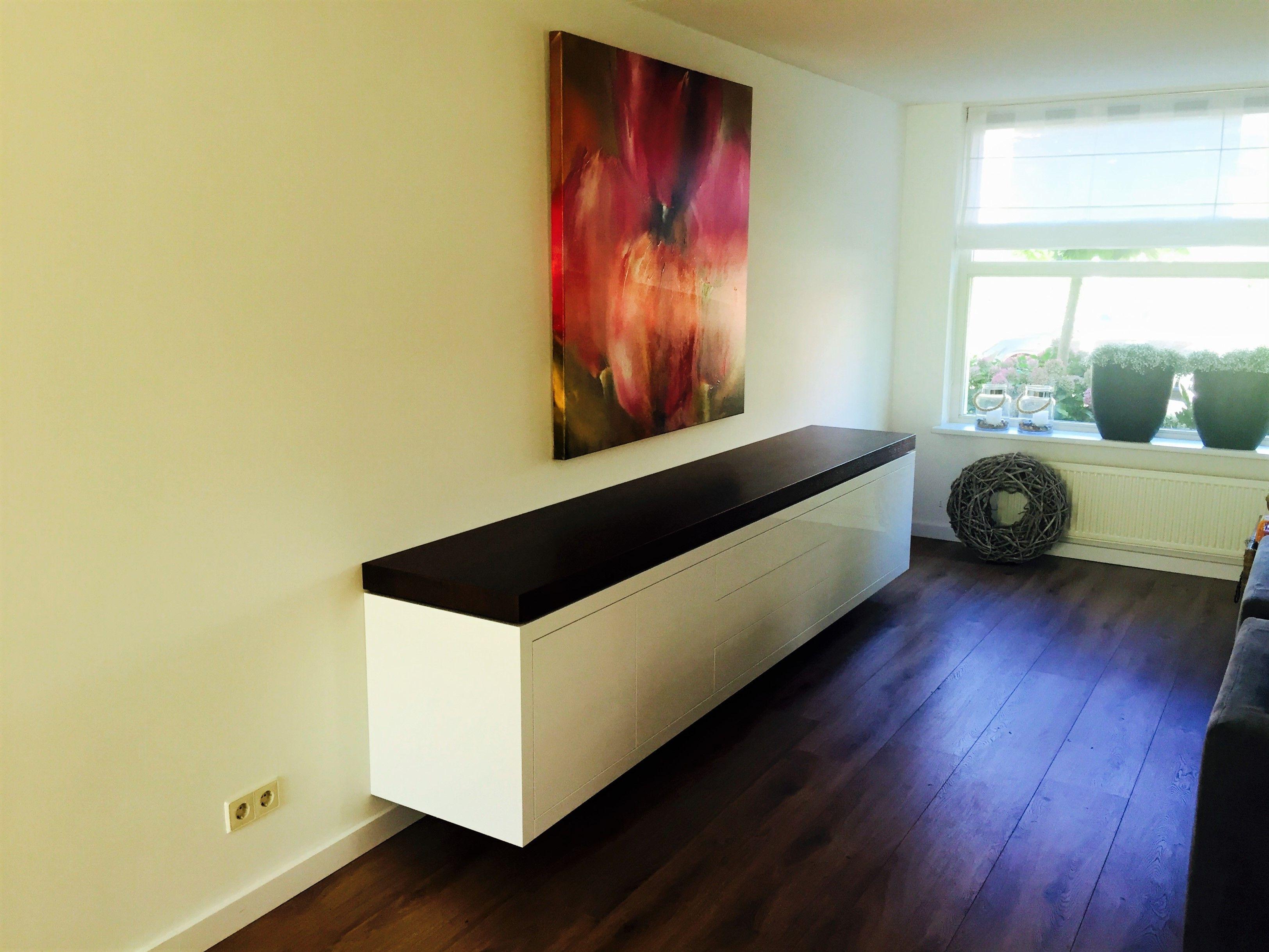 zwevend dressoir met wengà houten blad dressoirs op maat