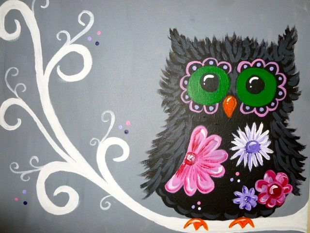 Wine And Canvas Owl