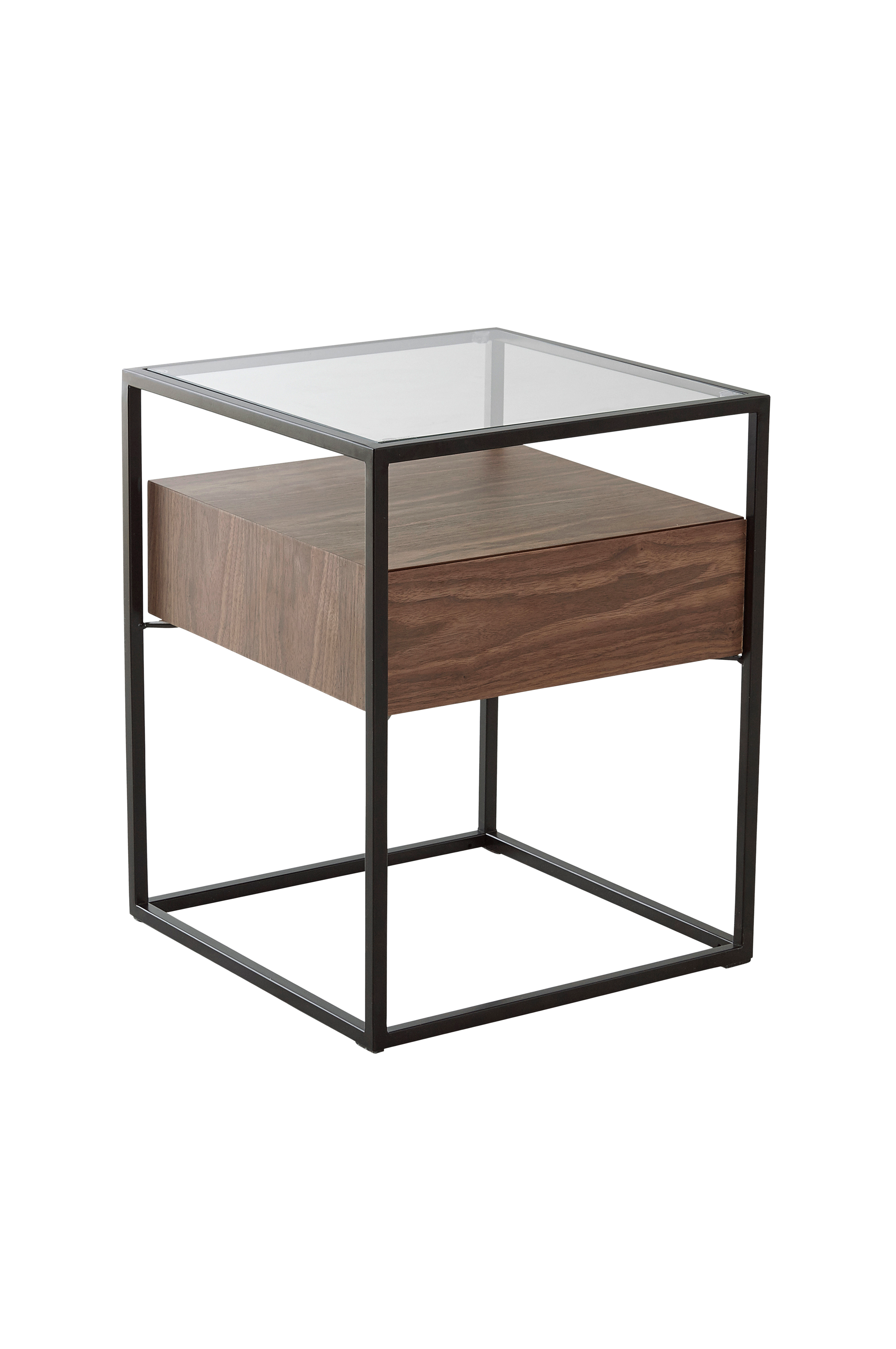 Night stand or side table Metal frame mediamyynti chestnut or