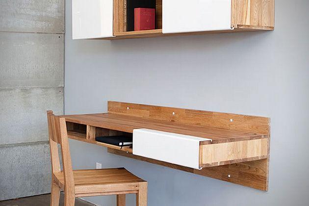 Zwevend Bureau Maken : Wall mounted desk by mashstudios interior bureau