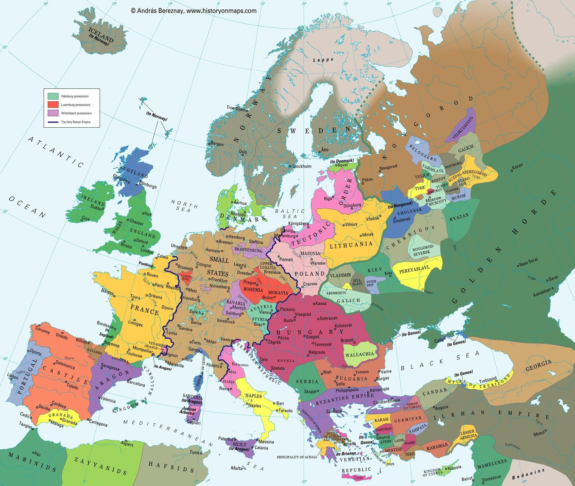 Europe in the beginning of the 14th century | History | European map ...