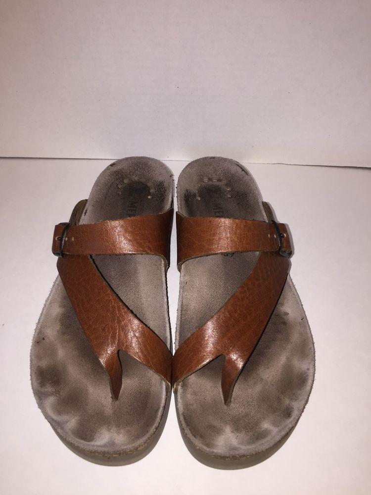 5ce8879610da6 Mephisto Helen Leather Toe Loop Comfort Sandals Brown size 39 Womens ...