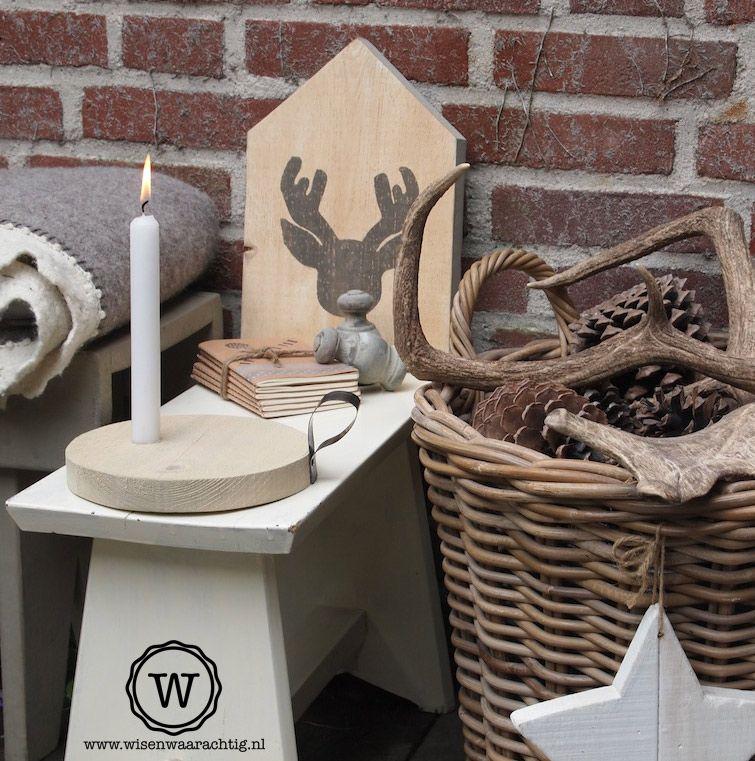 Heerlijke kerstsfeer met steigerhouten kandelaar warme for Gewei schedel