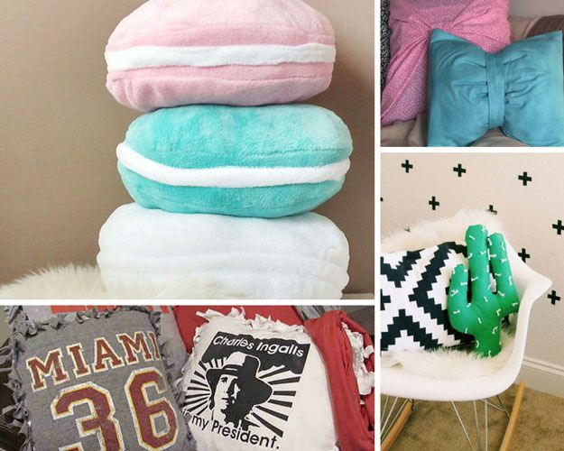 Cool DIY Pillow Crafts for Teens Bedroom by DIY Ready at http://diyready.com/diy-projects-for-teens-bedroom/