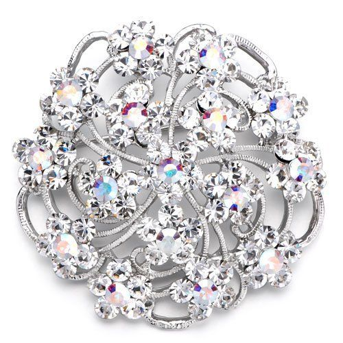 Pugster Elegant Clear White Crystal Flower Weddinges