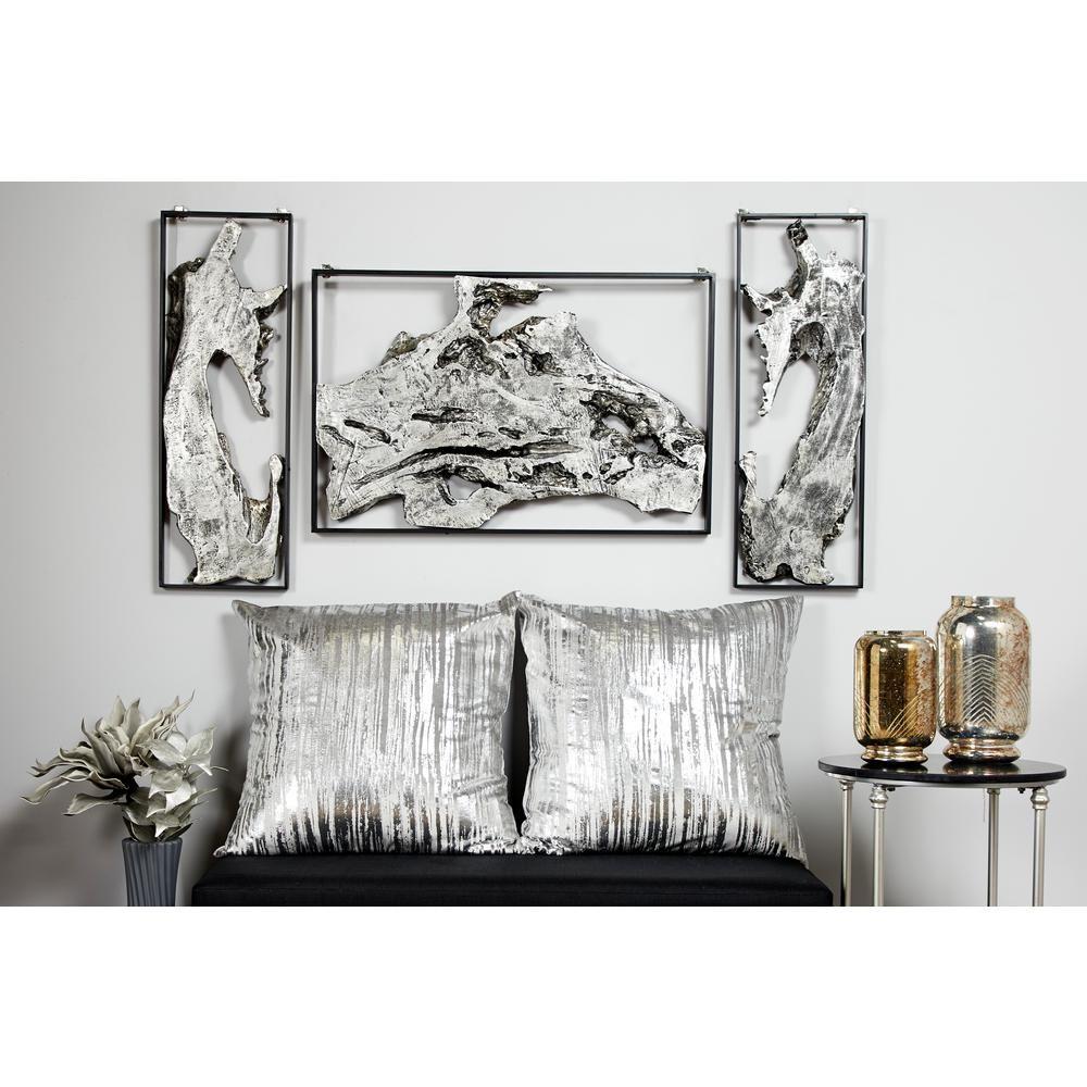Litton Lane Contemporary Abstract Art Silver Metal Wall Decor In Black Frame 46266 The Home Depot Abstract Wall Decor Silver Wall Decor Metal Living Room Decor