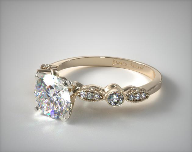 Vintage Inspired Ring in Yellow Gold , Setting Only