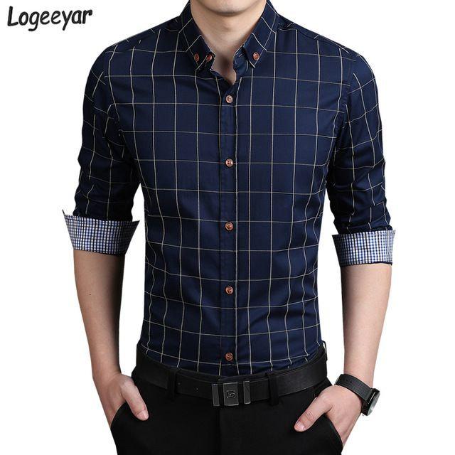 Check lastest price 2017 New Fashion Mens Plaid Shirt Cotton High ...