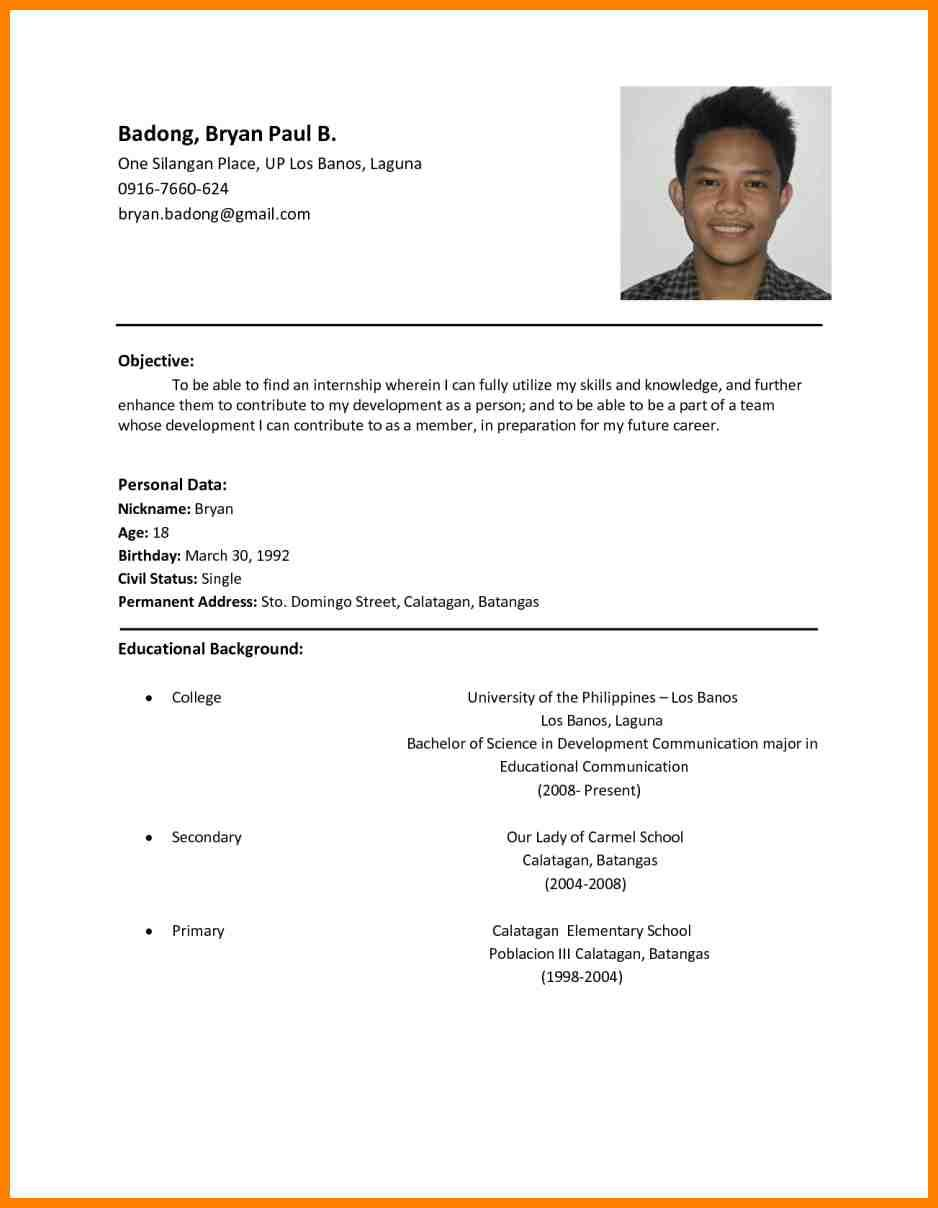 resume objective tagalog