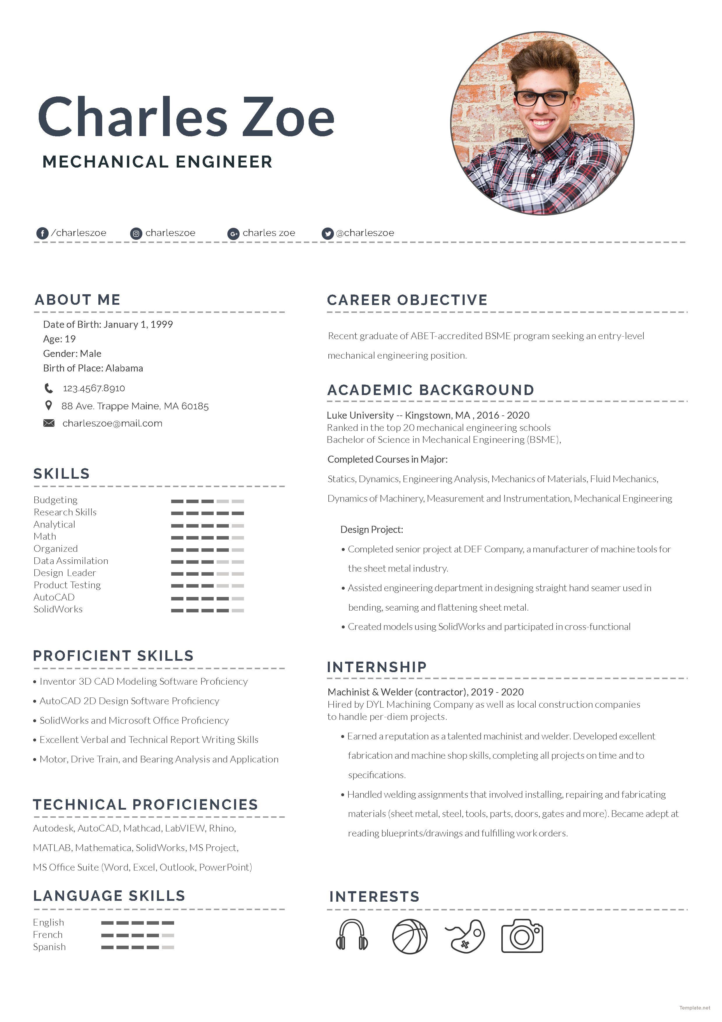 Mechanical Engineer Fresher Resume Template Free Psd Word Apple Pages Template Net Lebenslauf Lebenslaufvorlage Kostenlos Lebenslauf Vorlagen Word
