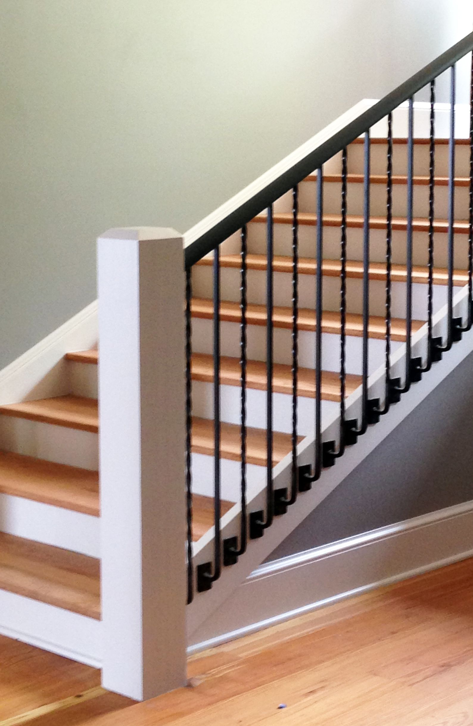 Custom Metal Handrail System With Side Mount Balusters | Stair Railing And Balusters | Brushed Nickel | Free Standing | Inexpensive | Deck | Wood