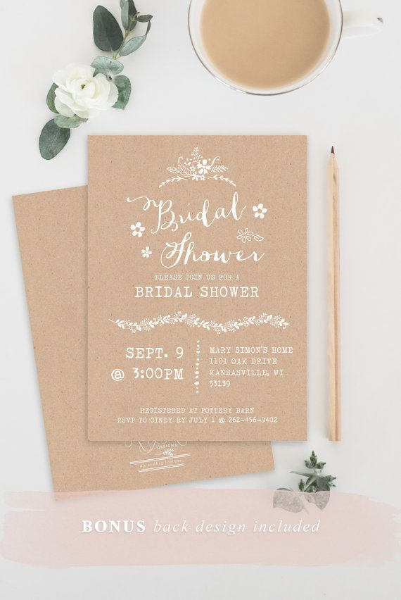 TEMPLATE Kraft Bridal Shower Invitation, Rustic Printable Wedding - free printable wedding shower invitations templates