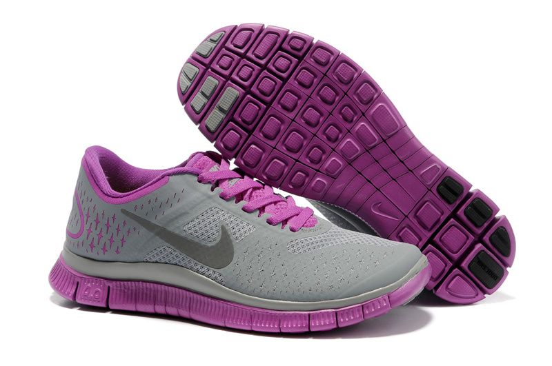 newest dabdc 6a2d9 Women Nike Free 4.0 V2 Grey Black Purple