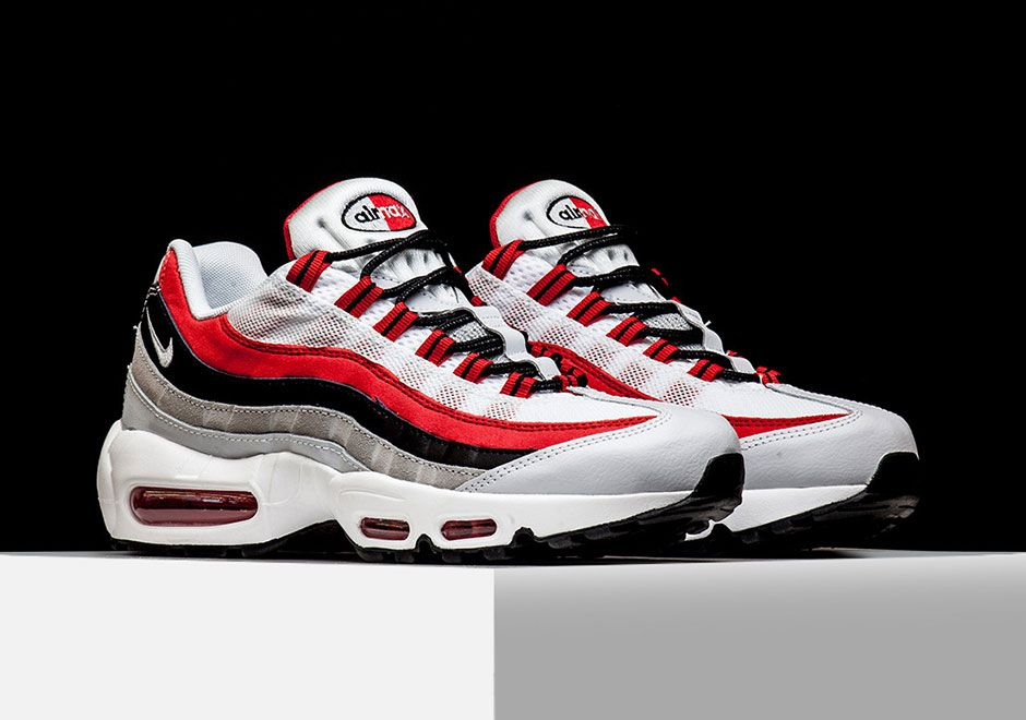 759caa1e47 NIKE AIR MAX 95 Color: White/University Red-Black-Wolf Grey Style Code:  749766-601 Price: $160