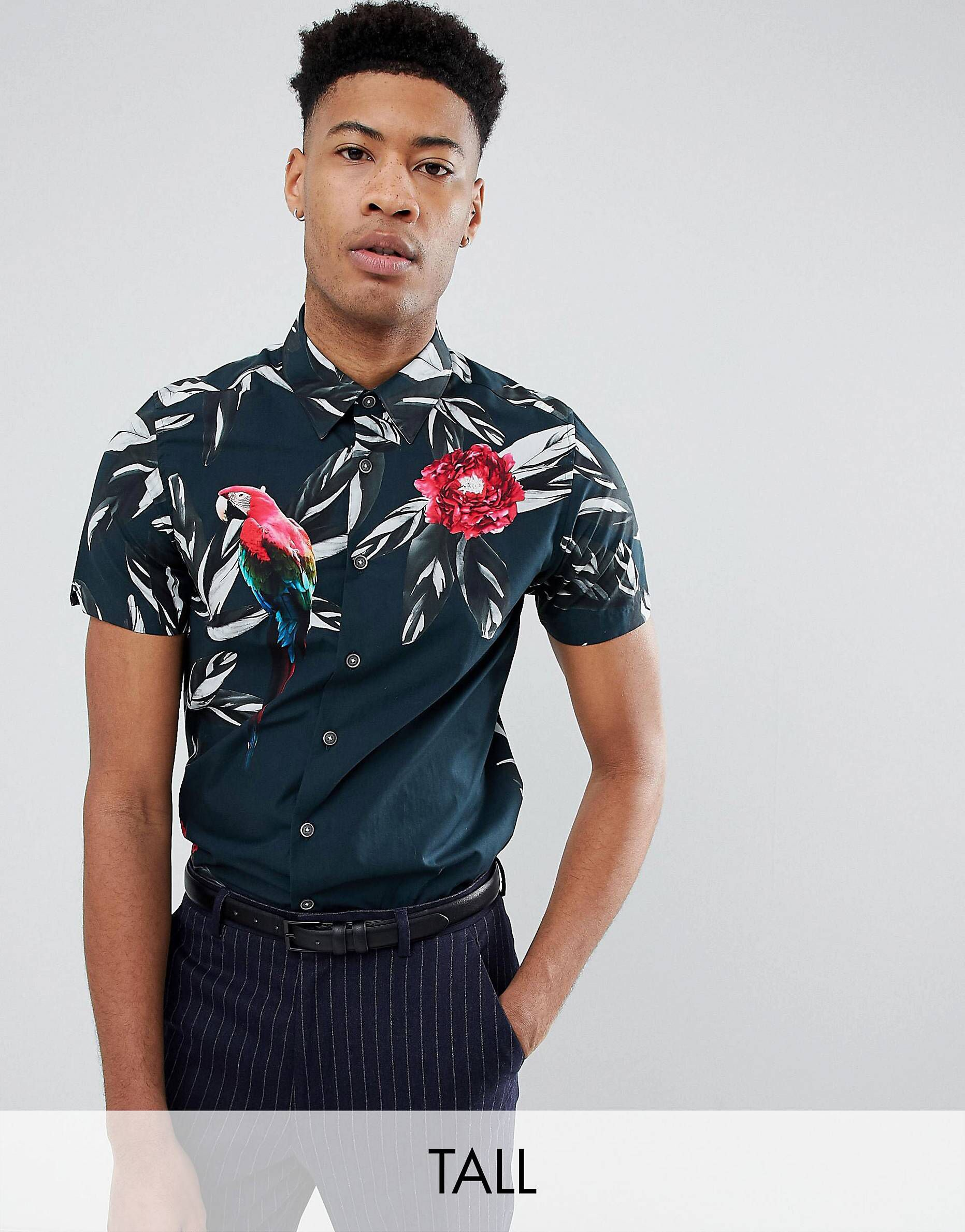 4e2a250b2 Ted Baker T For Tall slim short sleeved shirt with tropical print ...