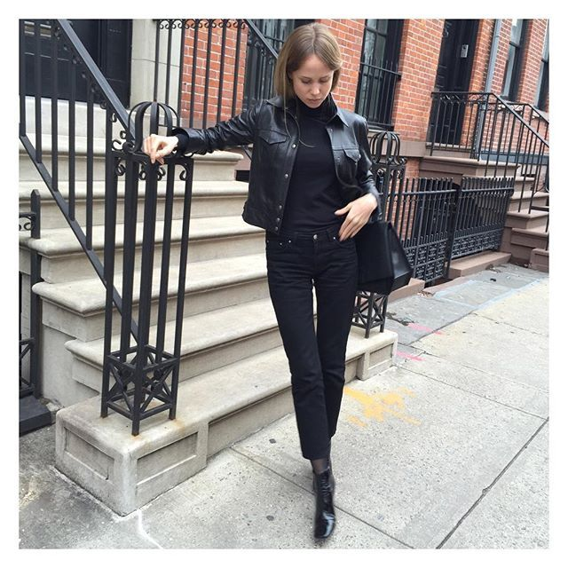 Leather weather and Totême straight denim