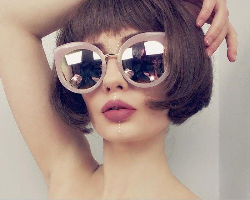 e69e20b434 Oversized Round Lens Cateye Frame Sunglasses Thick Rim Lunette Fashion  Eyewear