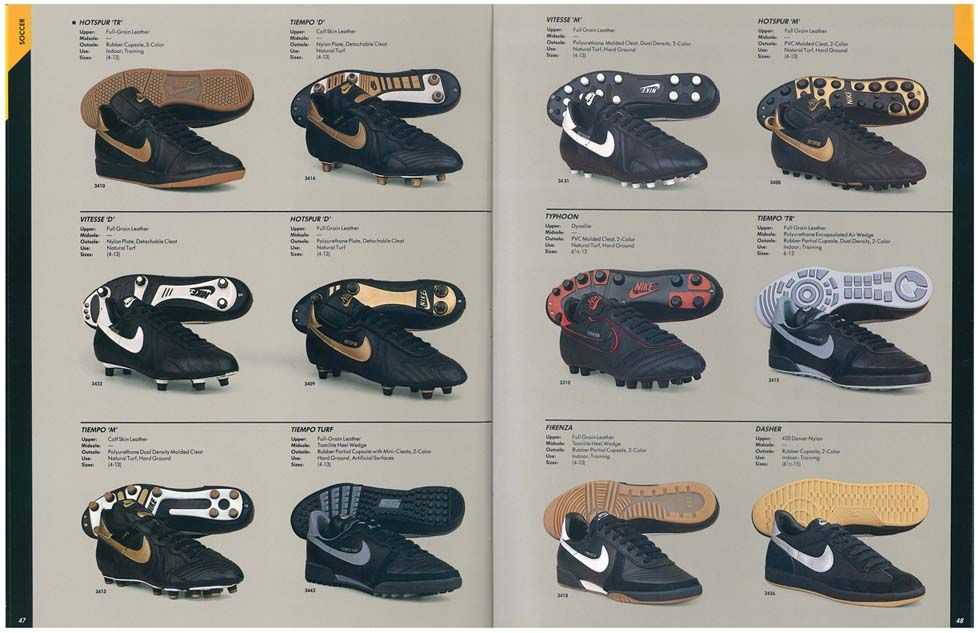 3cdba92aa531c Scan of football boot section from a 1985 Nike catalogue