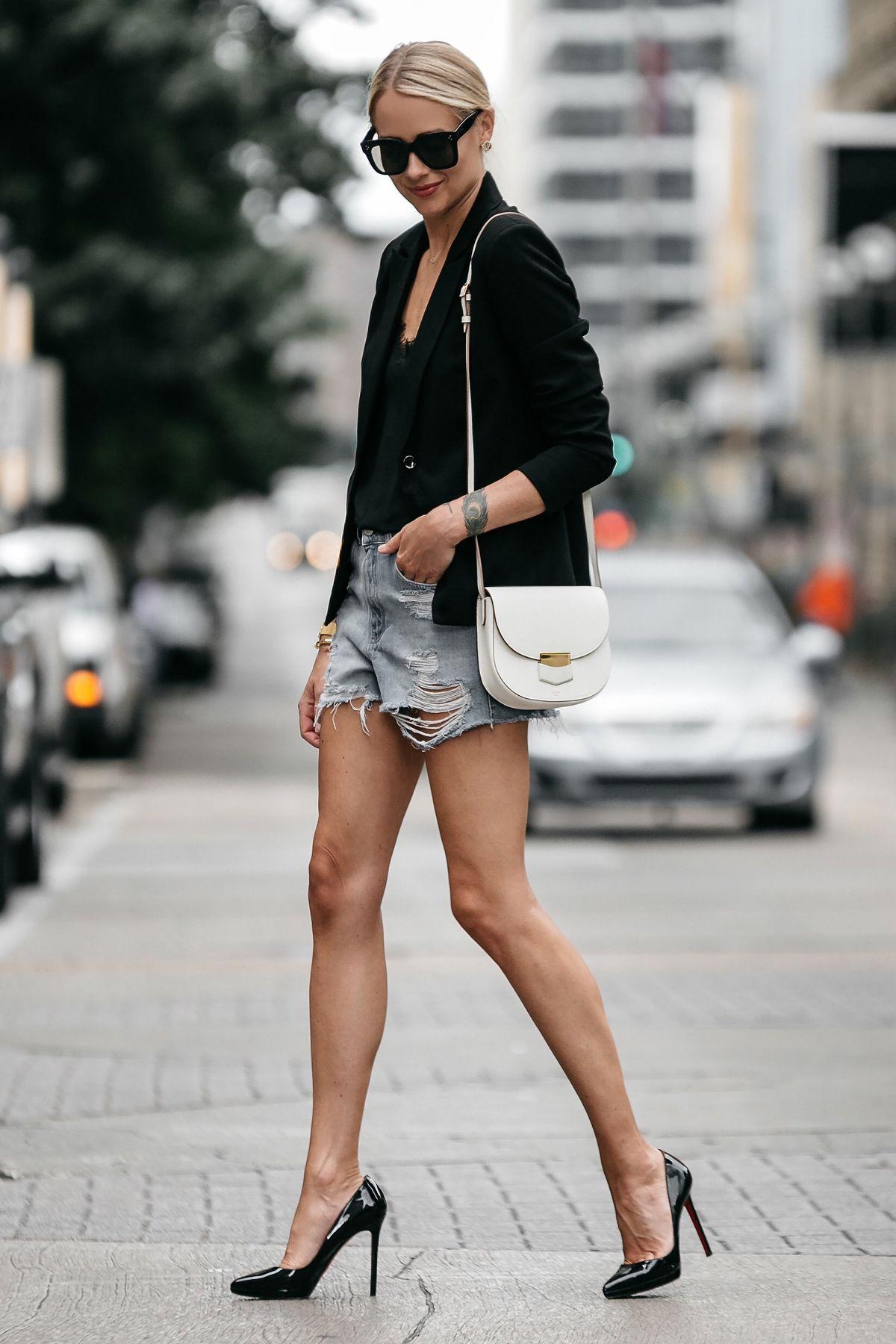 b2ac5b21e352 Blonde Woman Wearing Nordstrom Black Blazer Topshop Denim Cutoff Shorts  Outfit Christian Louboutin Black Pumps Celine White Trotteur Handbag Street  Style ...