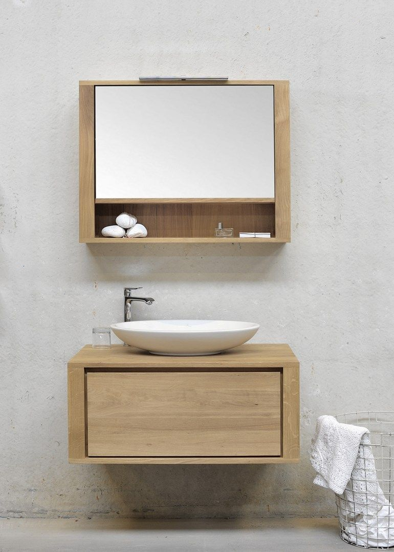 Single Wall Mounted Solid Wood Vanity Unit Oak Shadow Single Vanity Unit Ethnicraft Oak Bathroom Furniture Oak Bathroom Stylish Bathroom