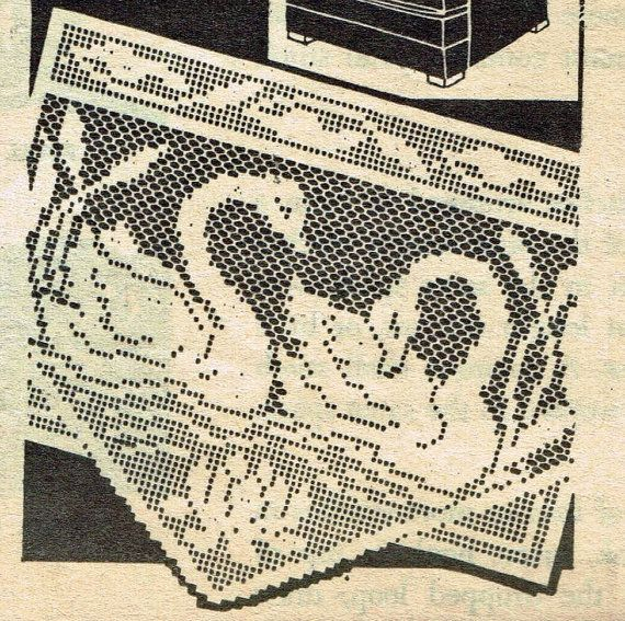 Old Crochet Pattern 7320 Chair Set With Swans And Cat Tails 13x16
