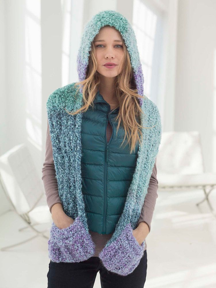 Hooded Scarf With Pockets In Lion Brand Homespun Thick Quick
