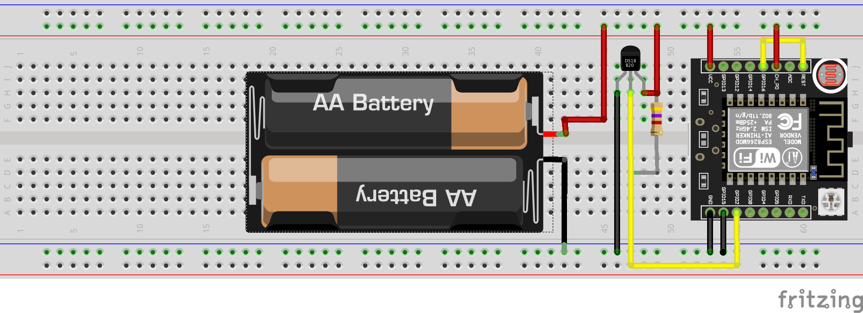 Battery-operated temperature monitor logging data directly to Google