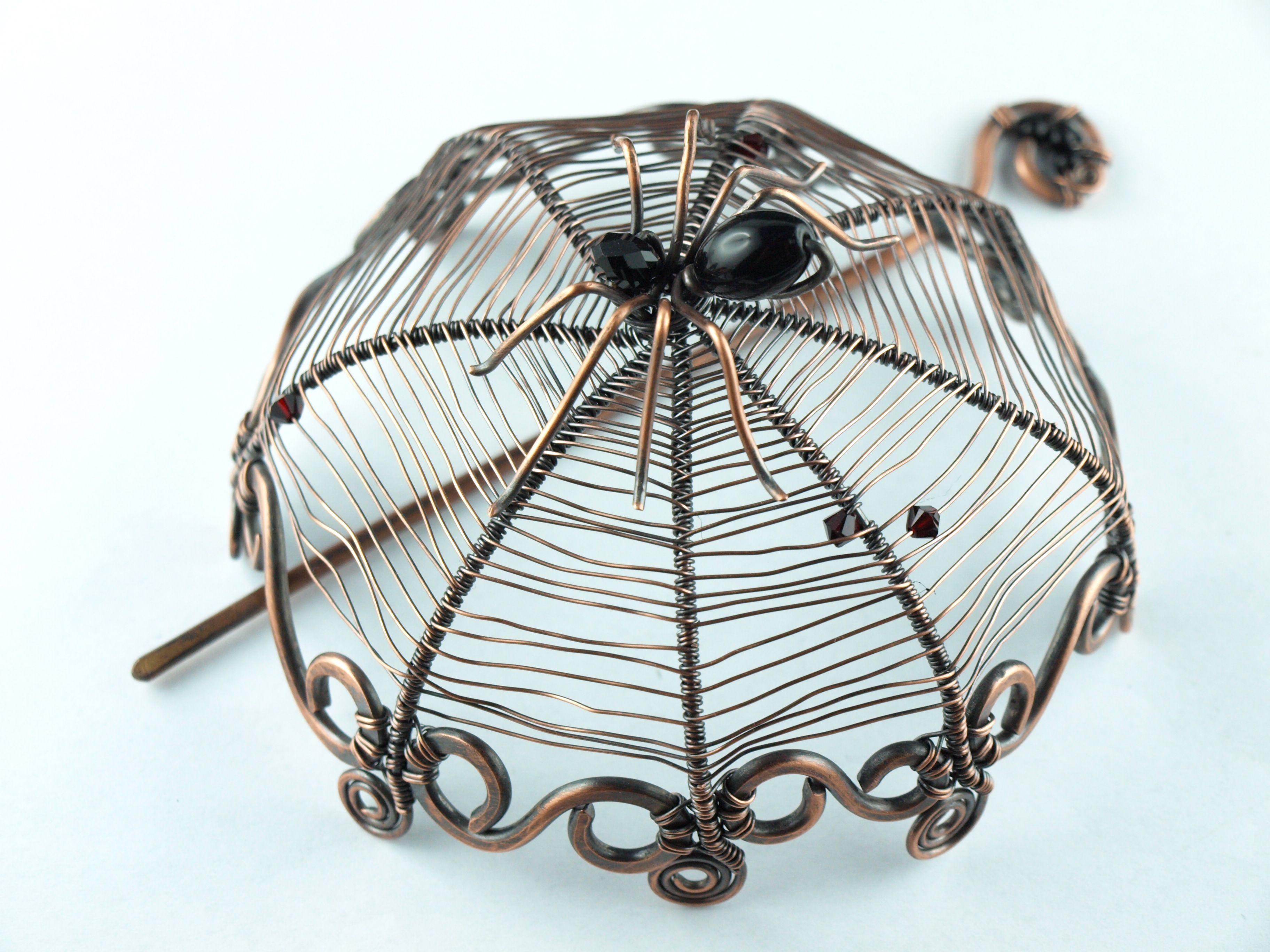 Spinne Onyx wire work spider | Wire work - Haarschmuck | Pinterest ...