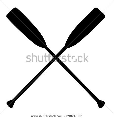 Two black silhouette of crossed oars vector isolated. Rowing oars. Plastic oars. Water sport - stock vector