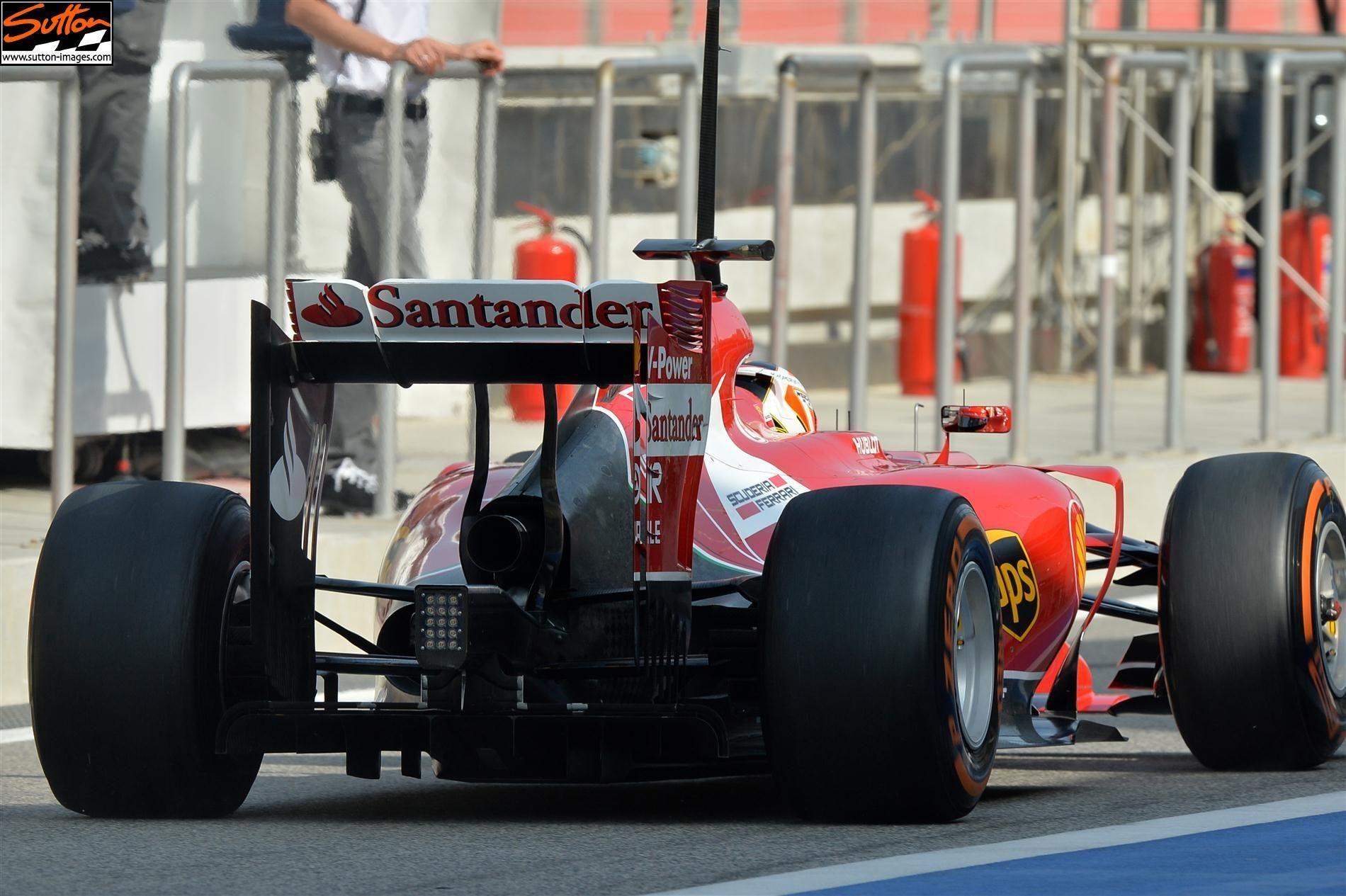 F1 2014 - Bahrain - Day 5 - Testing: Rear of the Ferrari