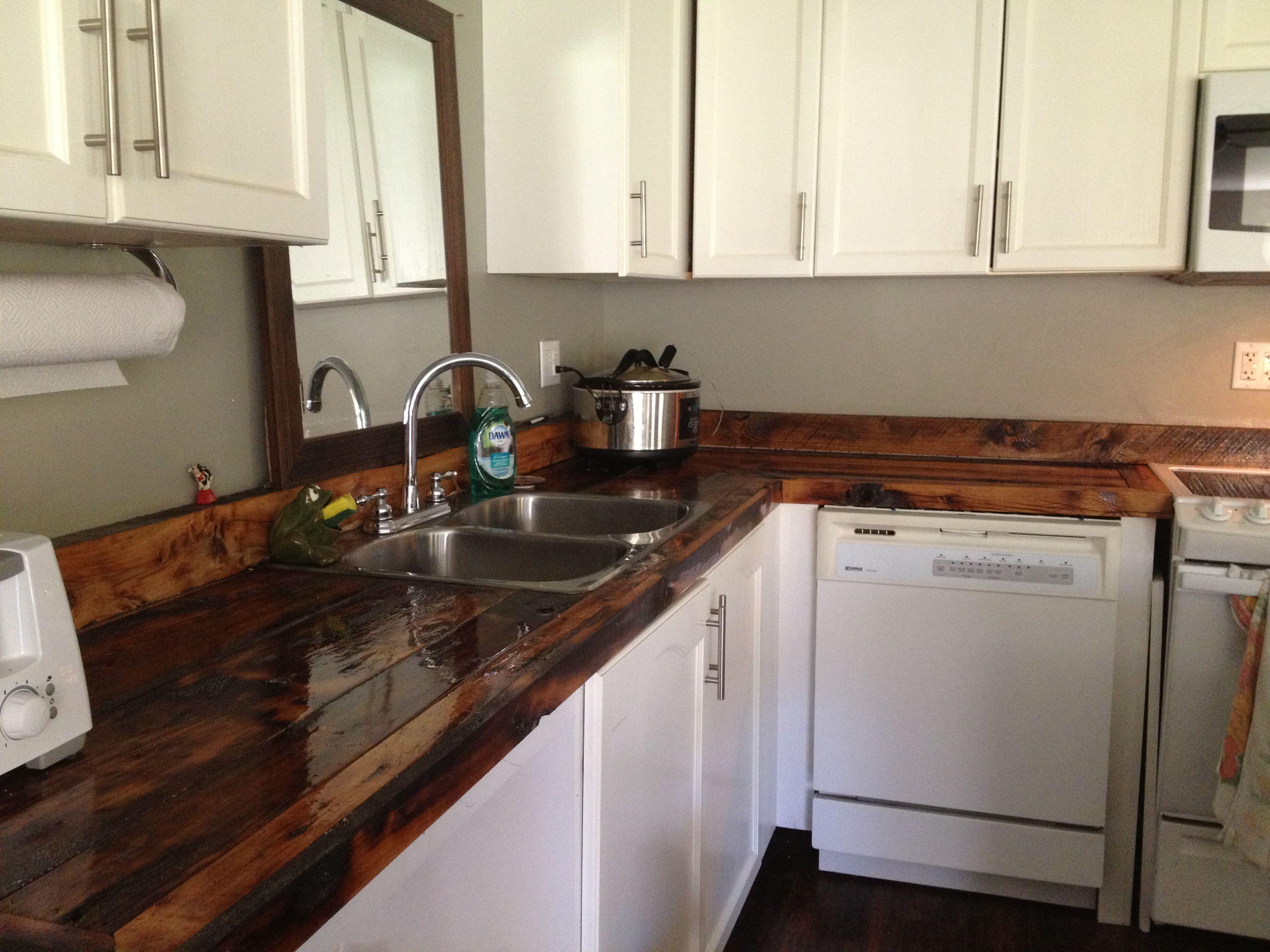 DIY barn board counter tops | Refinish kitchen cabinets ...