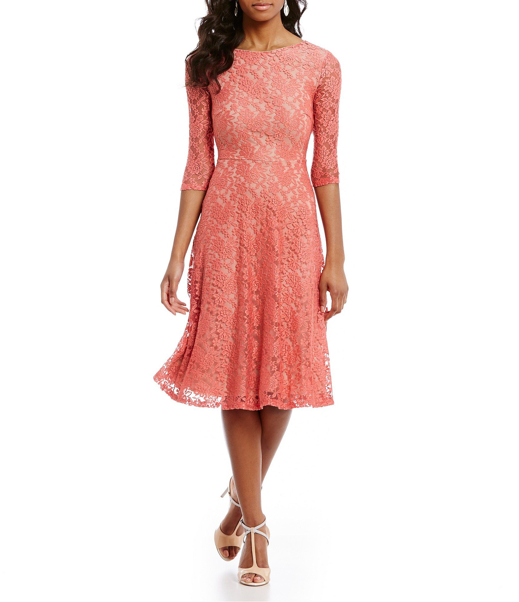 6a4ab0c0fa Shop for Sangria Tea-Length Midi Lace Fit-and-Flare Dress at Dillards.com.  Visit Dillards.com to find clothing