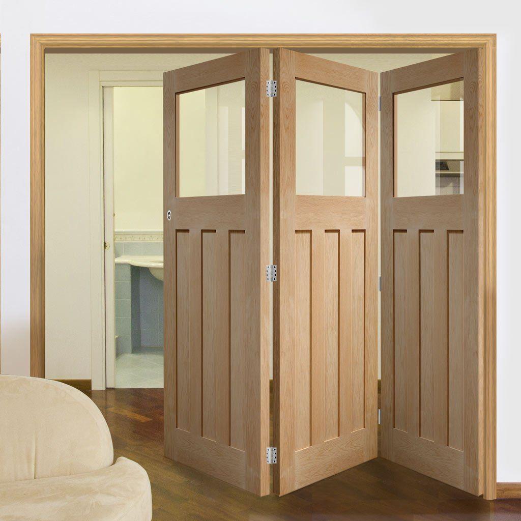 Bespoke Thrufold Dx 1930 S Oak Glazed Folding 3 0 Door Prefinished Internal Folding Doors Oak Bifold Doors Folding Doors