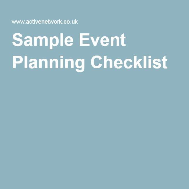 Sample Event Planning Checklist  Event Planning