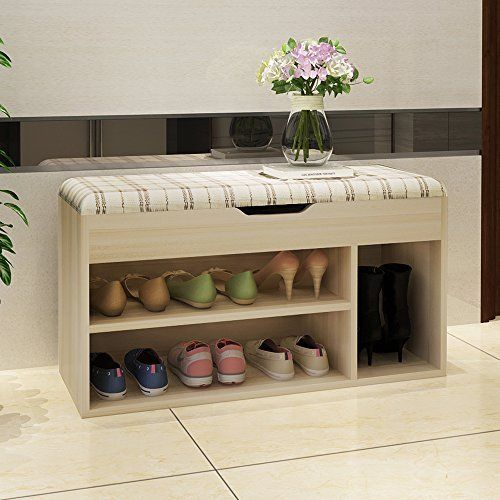 Decorative Shoe Bench With Storage Shoe Rack Easy To Clean Sponge