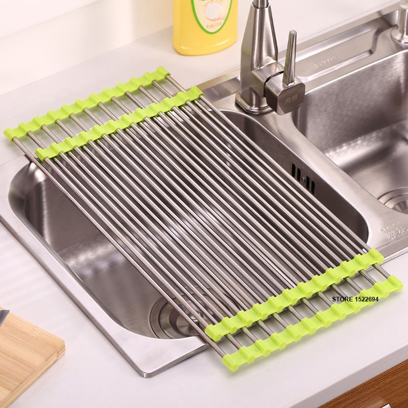 Amazing 3 Colors Kitchen Roll Up Dish Drying Rack Over The Sink Stainless Steel  Colander Dish Drainer