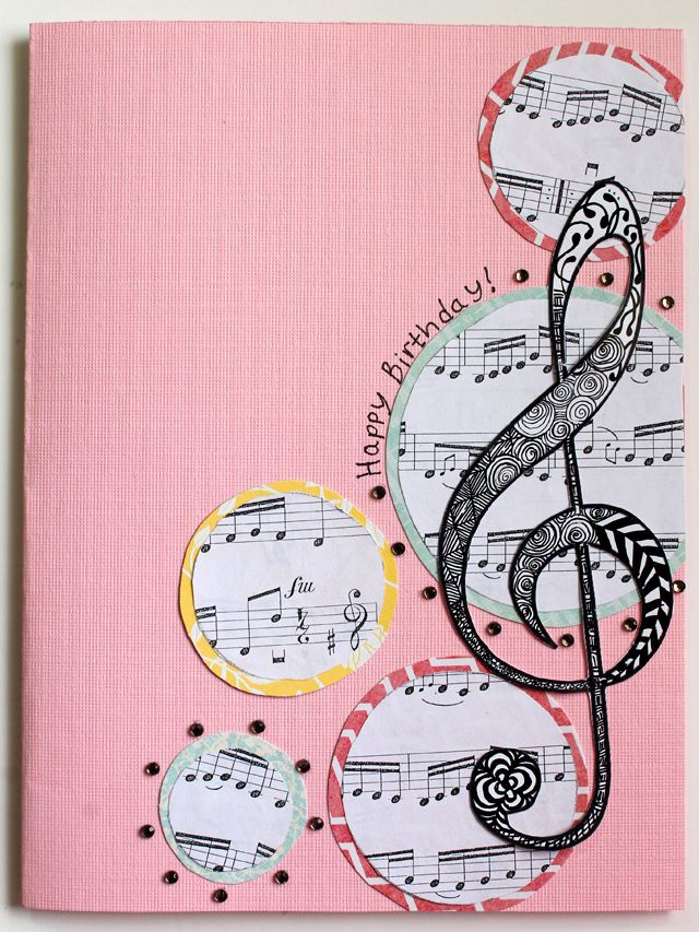 Use sheet music circles layered on scallop circles top with big – Musical Cards for Birthday
