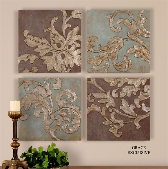 Attirant Damask Relief Blocks Wall Plaques Hand Painted Oils   Premier Home Decor