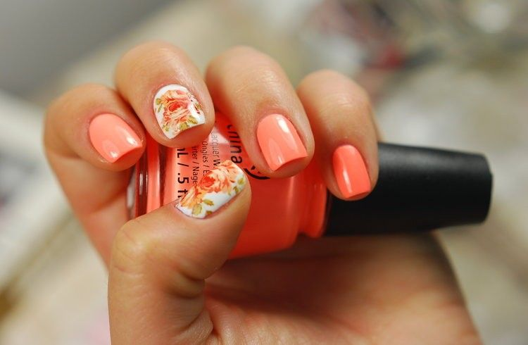 China Glaze Sun of a Peach with water decals nail design - China Glaze Sun Of A Peach With Water Decals Nail Design