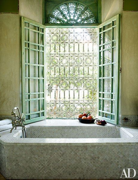 tiled baths can be beautiful and I love french windows that open wide