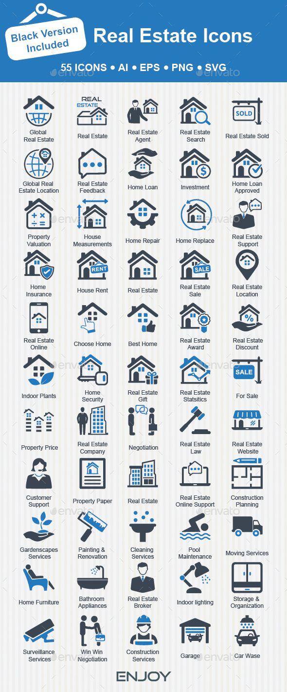 Real Estate Icons | Diseño de logotipos y Logotipos