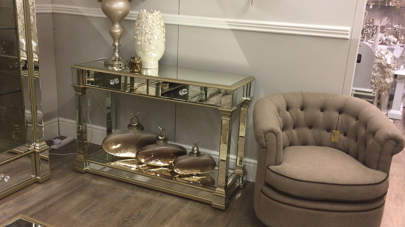 Athens Gold Mirrored 2 Drawer Console Table   Picture Perfect Home is part of Mirrored console table - Absolutely gorgeous 2 drawer mirrored console table with beautiful champagne gold glistening trim  Part of the stunning Athens range