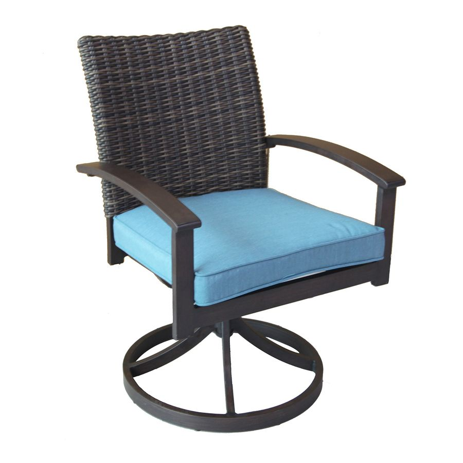 allen roth atworth 2count brown wicker patio dining chairs with peacock blue cushions