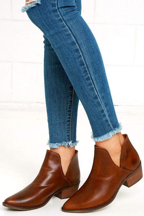 ec1e389a274 Steve Madden Austin Booties - Cognac Booties - Leather Ankle Booties - Cutout  Booties -  99.00