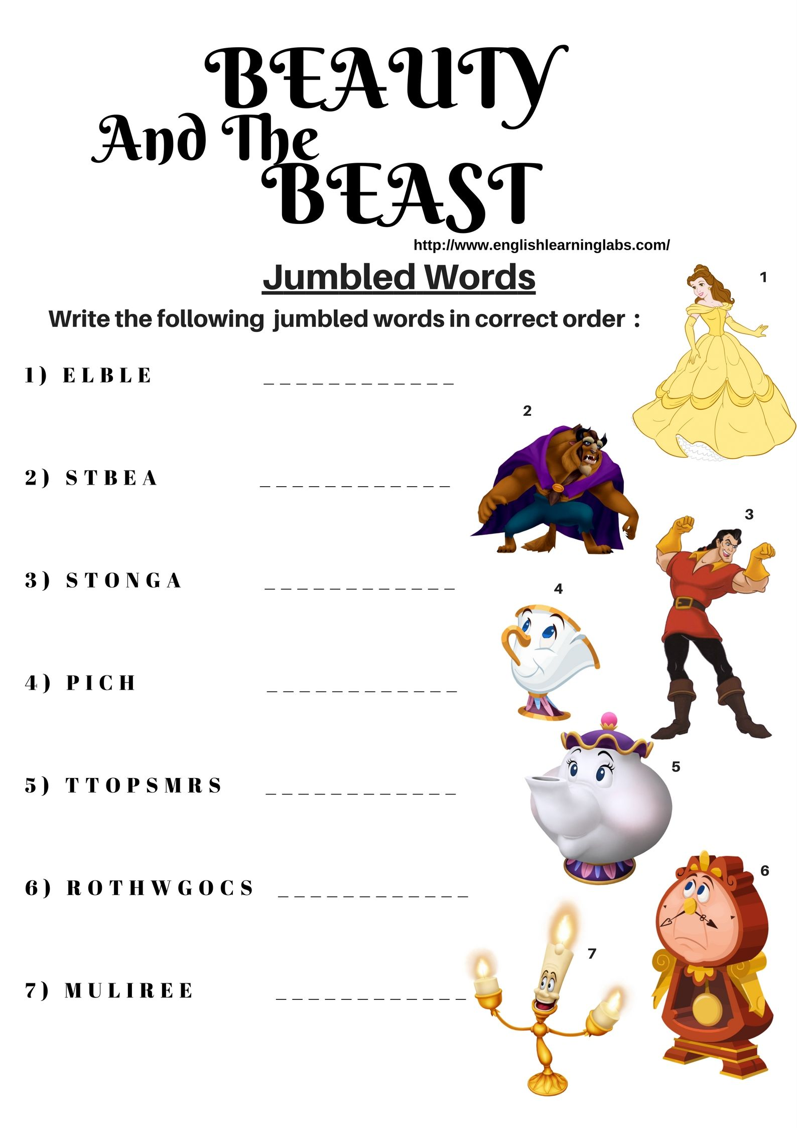 Beauty And The Beast Printable Worksheets Learning How