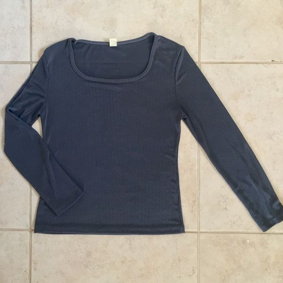 BLUE TOP Blue long sleeve ribbed crew neck top. Very light fabric, perfect for spring.  NWOT ~ NEVER WORN Tops Tees - Long Sleeve