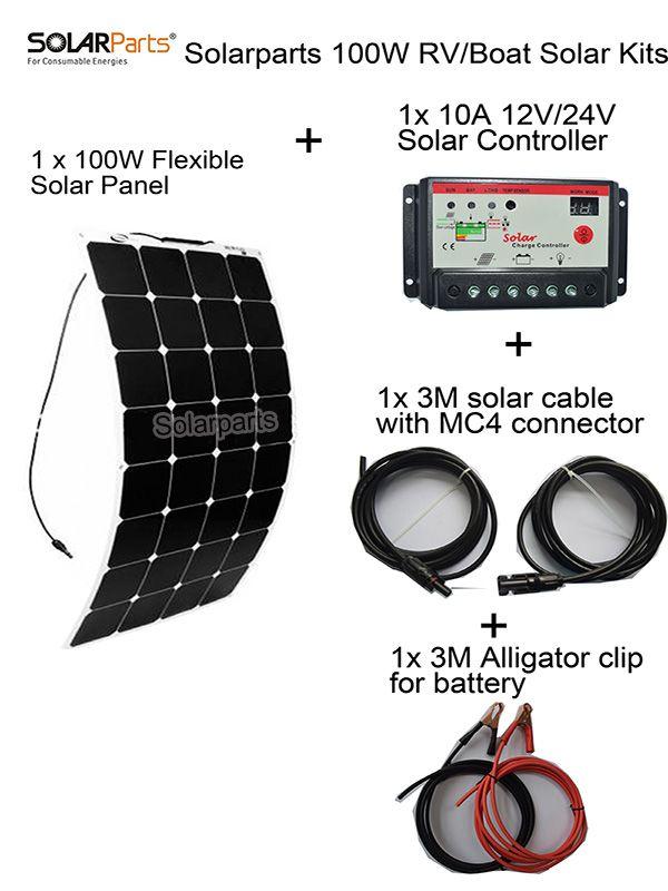 Barato Solarparts 100 W Diy Rv Marine System1x100w Kits De Energia Solar Painel Solar Flexivel 12 V 1 X10a 12 V 24 Flexible Solar Panels Diy Boat Solar Panels