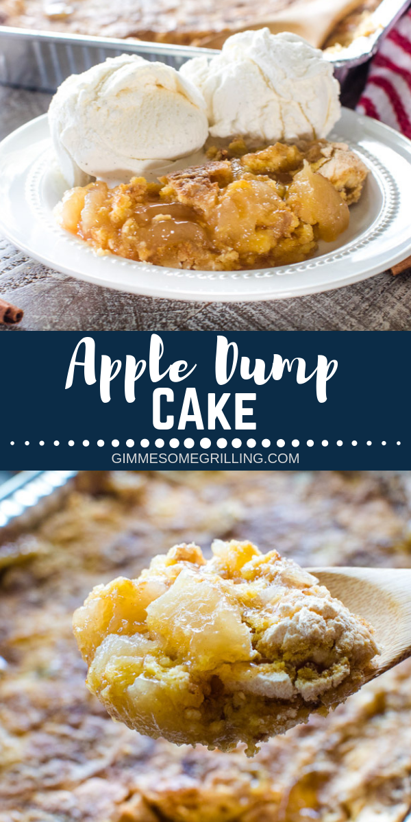 This quick and easy apple dessert is made on your grill for easy clean up! You only need FOUR ingredients and you have an amazing Grilled Apple Dump Cake. It's a perfect dessert for camping! #gimmesomegrilling #apple #appledessert #applecake #dumpcake #dumpdessert #appledumpcake #grill #grilling #grilled #camping #campingrecipe